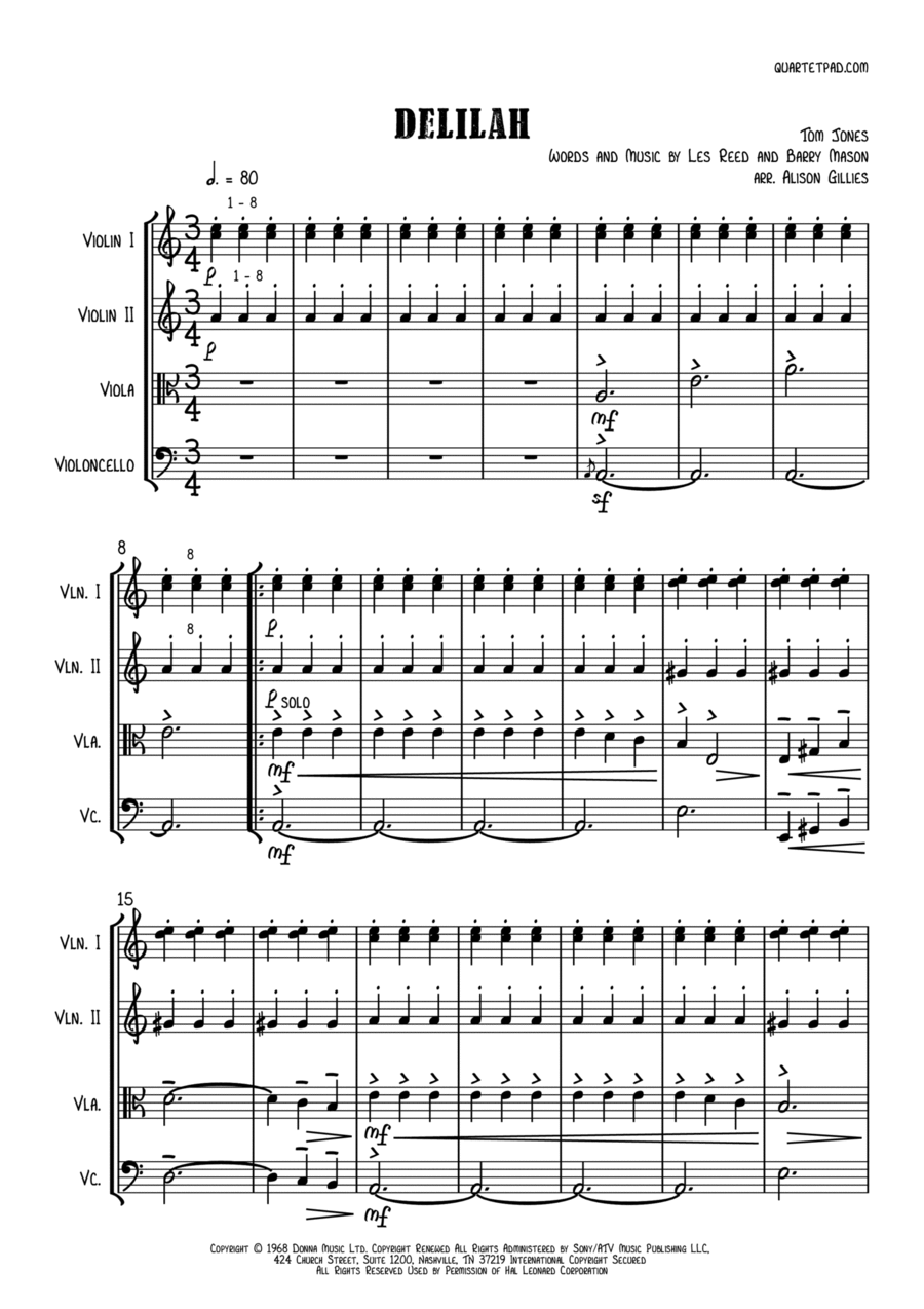 Delilah - String Quartet