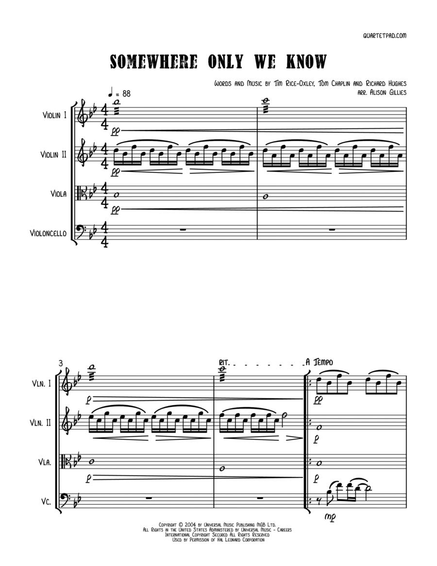 Somewhere Only We Know - String Quartet