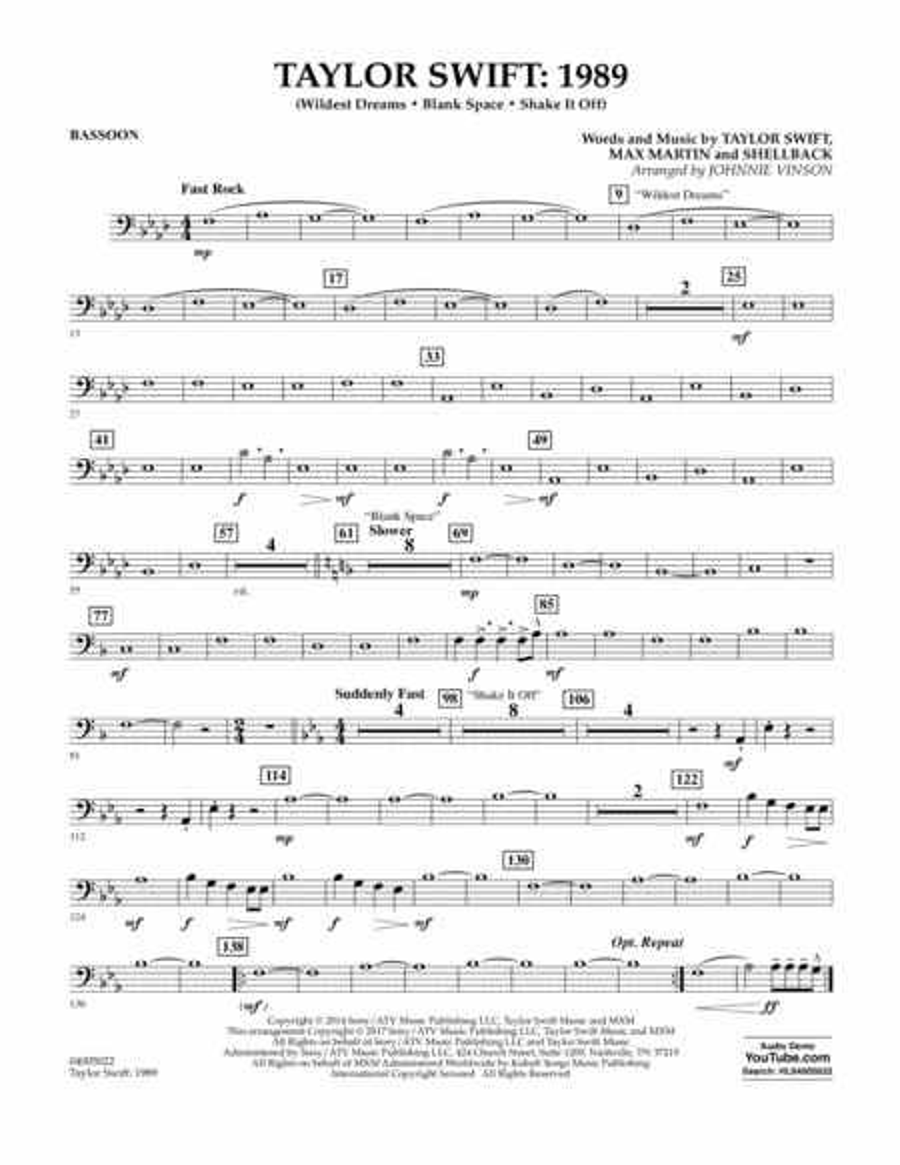 Taylor Swift: 1989 - Bassoon