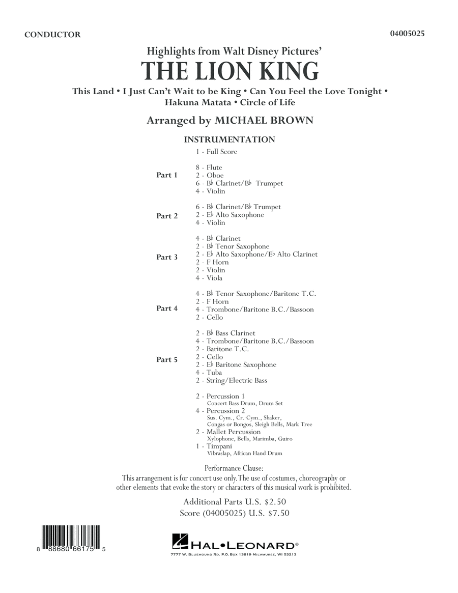 Highlights from The Lion King - Conductor Score (Full Score)