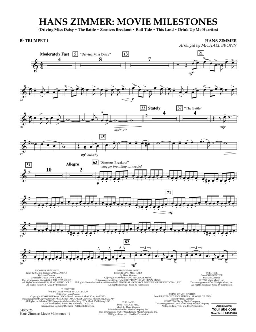 Hans Zimmer: Movie Milestones - Bb Trumpet 1