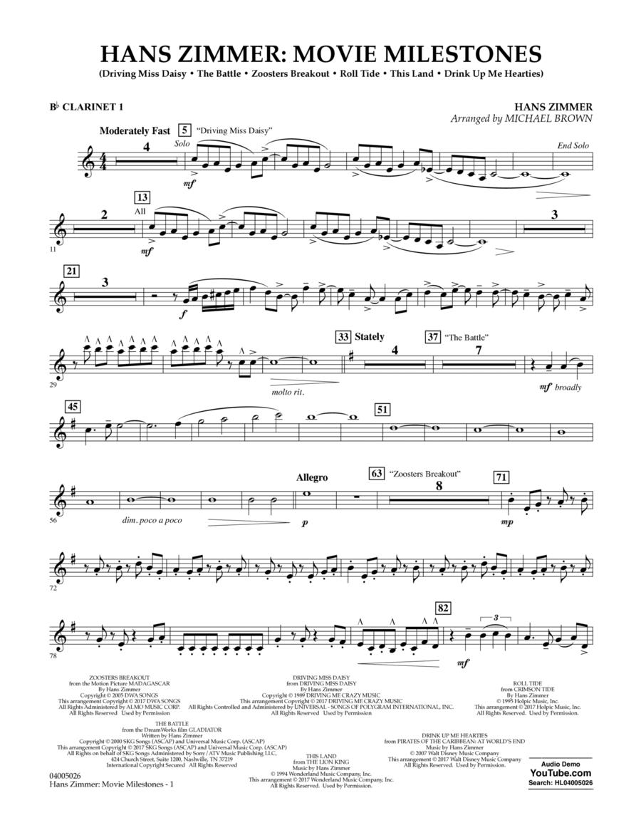 Hans Zimmer: Movie Milestones - Bb Clarinet 1