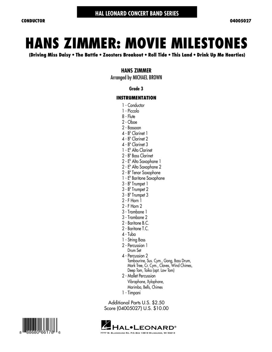 Hans Zimmer: Movie Milestones - Conductor Score (Full Score)