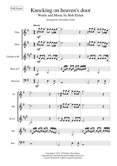 Knockin' On Heaven's Door for Wind quintet