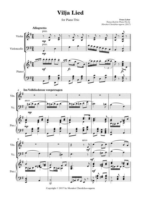 Vilja Lied (Merry Widow) for Piano Trio