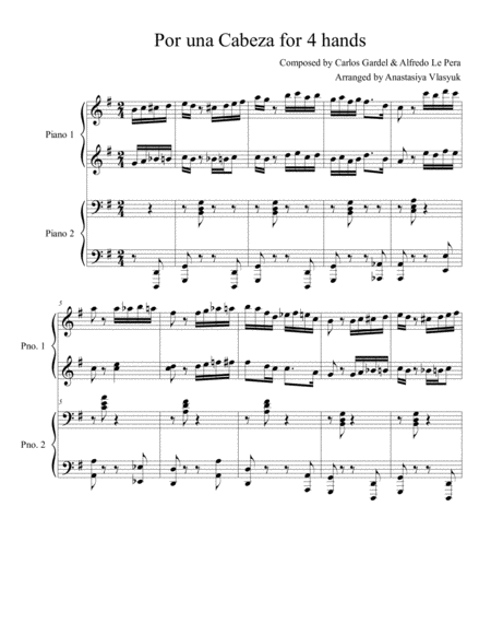 Por una Cabeza for piano duet (4 hands)