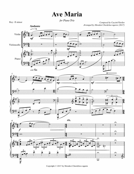 Ave Maria (Caccini) for Piano Trio