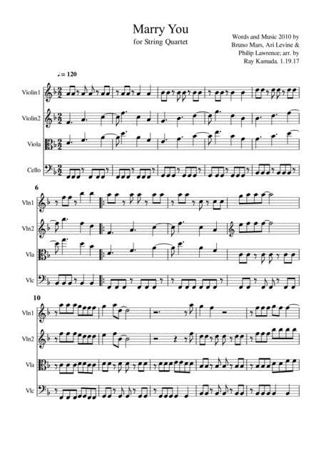 Marry You, for String Quartet