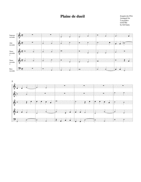 Plaine de dueil (arrangement for 5 recorders)