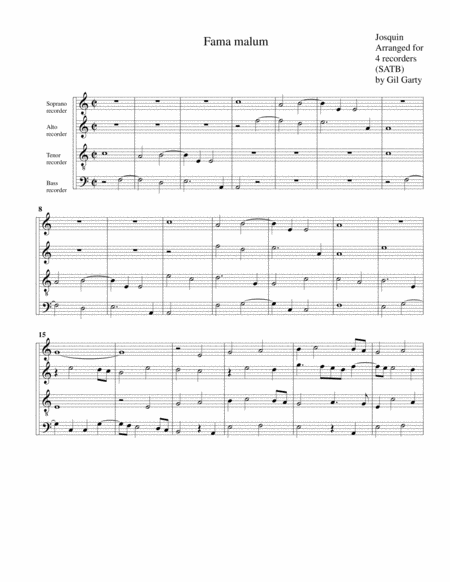 Fama malum (arrangement for 4 recorders)