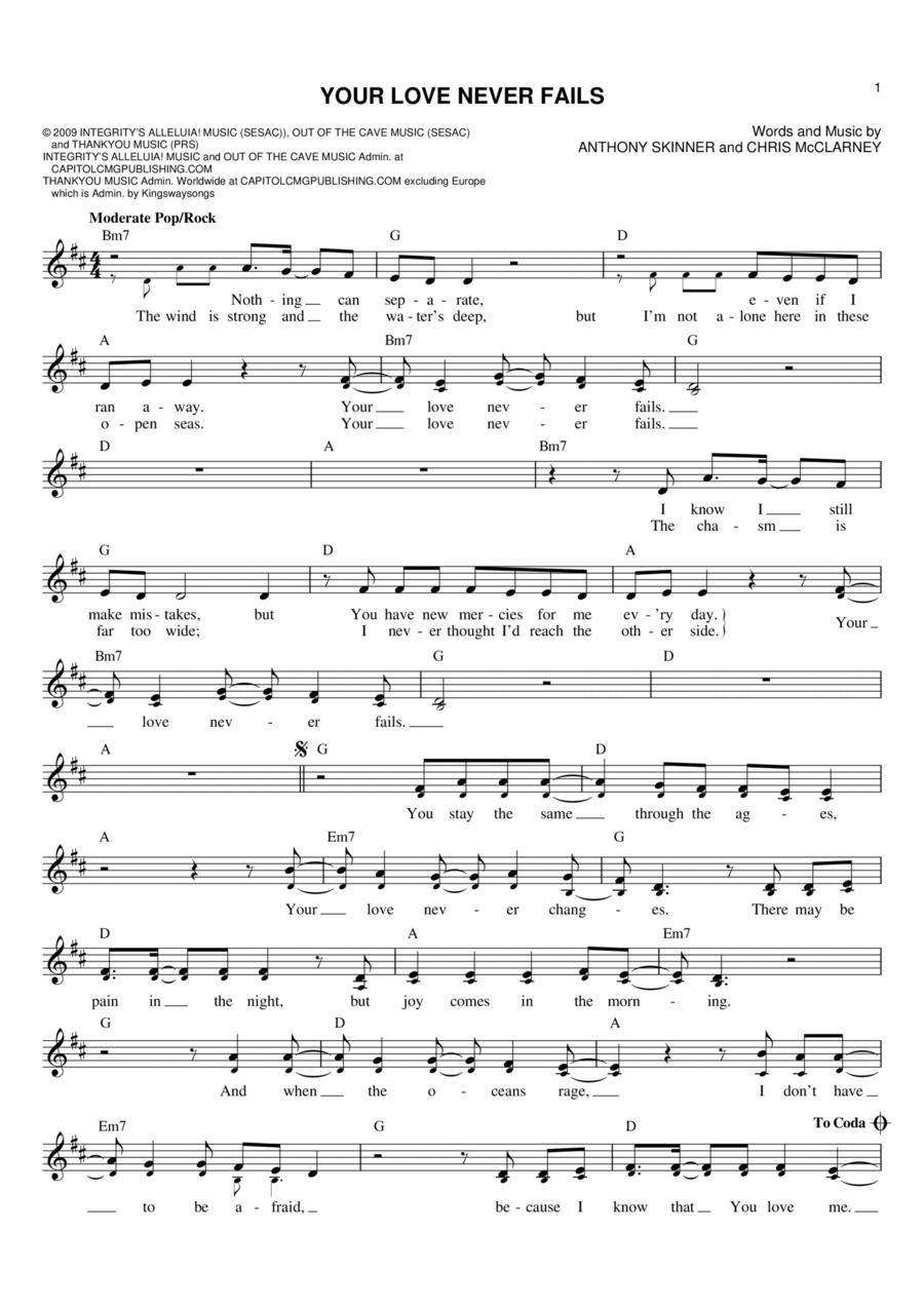 your love never fails sheet music - Denmar.impulsar.co