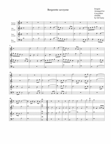 Bergerette savoyene (arrangement for 4 recorders)