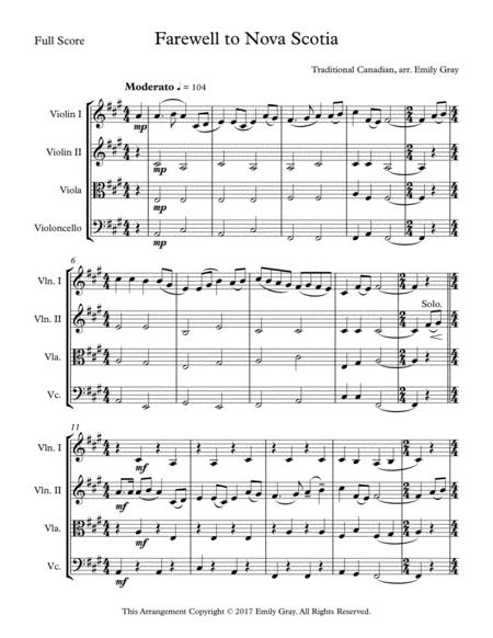 Farewell to Nova Scotia (String Quartet)