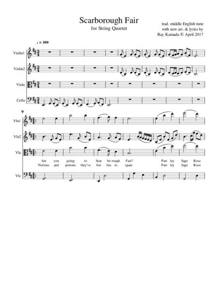 Scarborough Fair, for String Quartet