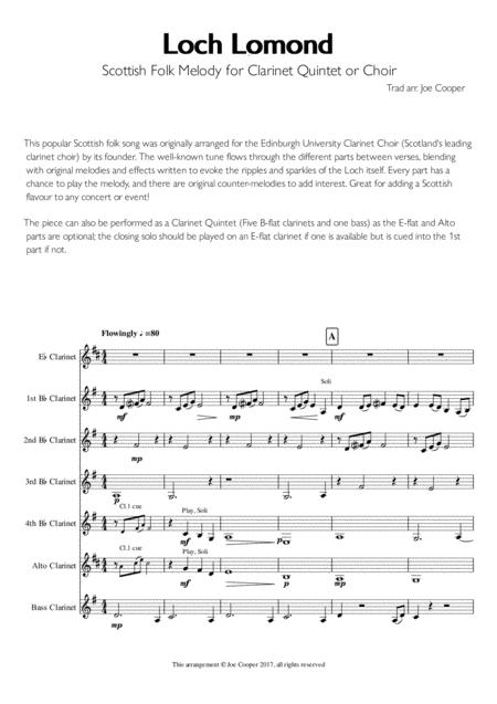 Loch Lomond - Scottish Folk Melody for Clarinet Choir or Quintet