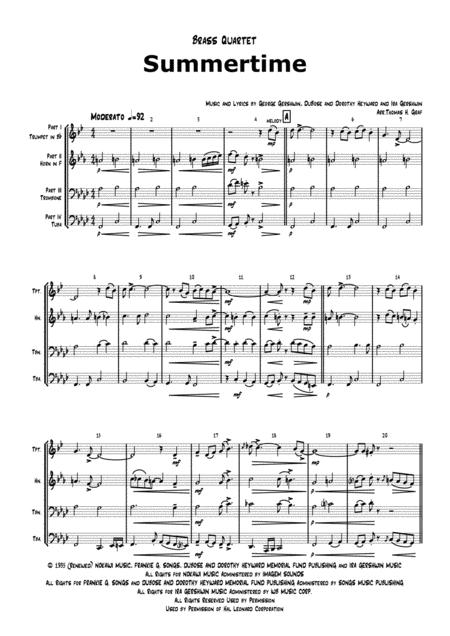 Summertime - Gershwin - Ballad - Brass Quartet