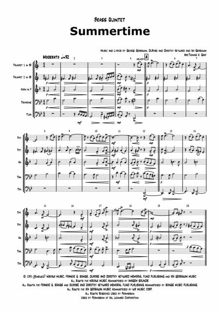 Summertime - Gershwin - Ballad - Brass Quintet