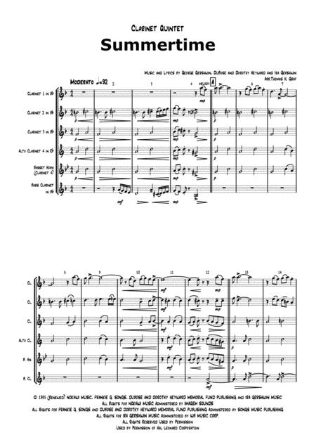 Summertime - Gershwin - Ballad - Clarinet Quintet