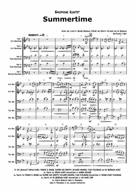 Summertime - Gershwin - Ballad - Saxophone Quintet