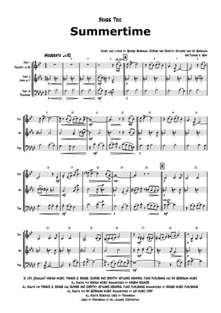 Summertime - Gershwin - Ballad - Brass Trio