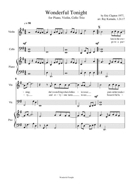 Wonderful Tonight, for Piano, Violin, Cello Trio