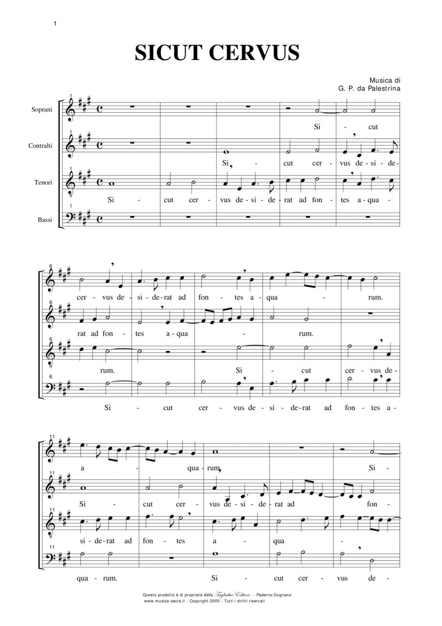 SICUT CERVUS - SATB Choir - Music by G.P. da Palestrina