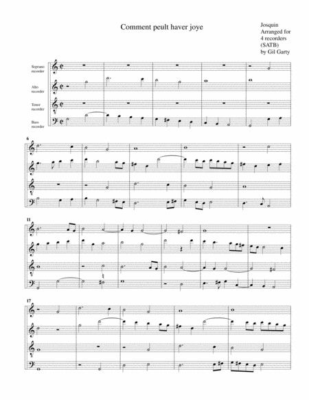 Comment peult haver joye (arrangement for 4 recorders)