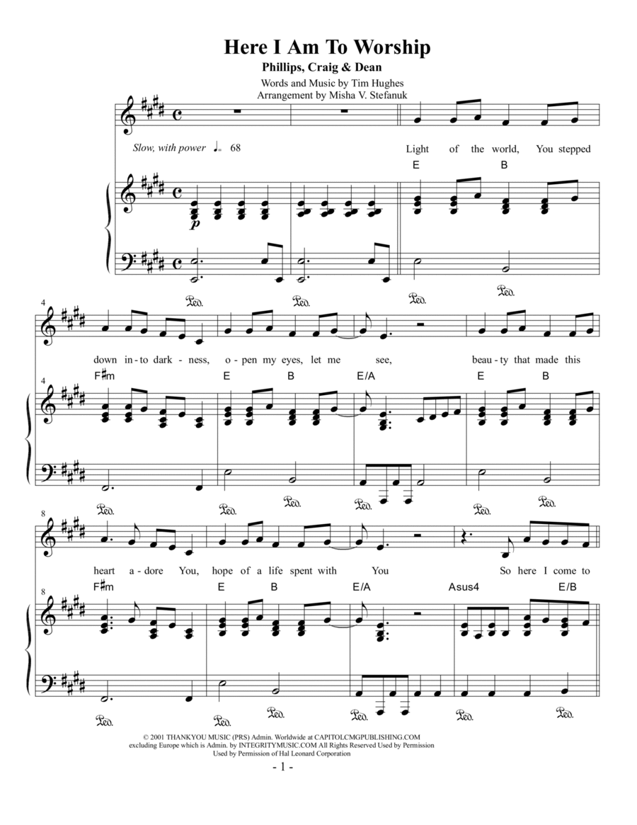here i am to worship sheet music pdf