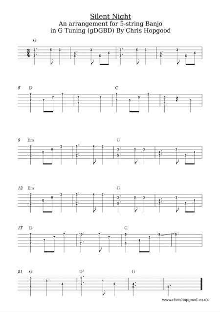 Silent Night for 5-String Banjo