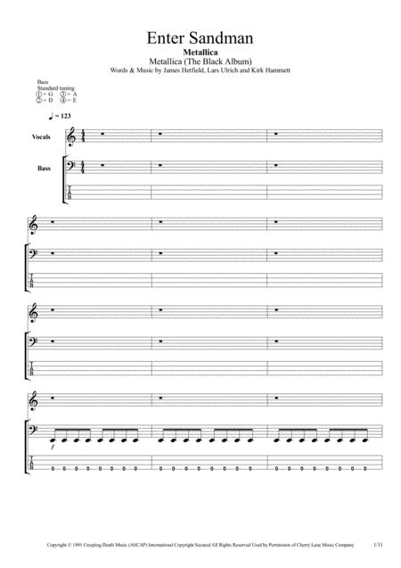 Enter Sandman (Bass Tab)