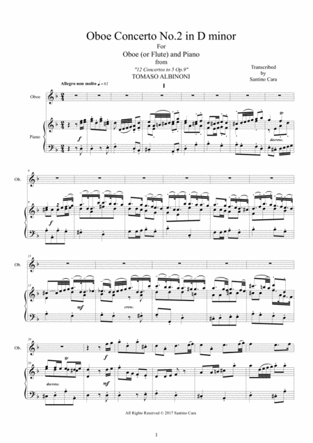 Albinoni - Oboe Concerto No.2 in D minor Op.9 for Oboe or Flute and Piano