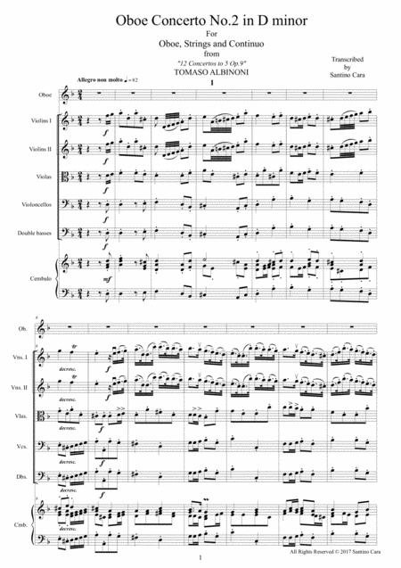 Albinoni - Oboe Concerto No.2 in D minor Op.9 for Oboe, Strings and Cembalo