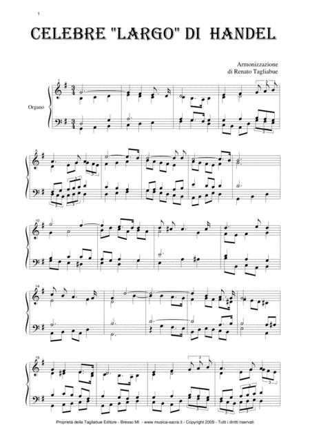 LARGO by Handel - (From Op. Xerxes; HWV 40) - Arr. for Organ