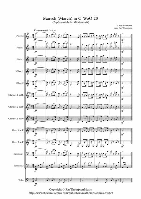 Beethoven: Marsch (Military March) in C (Zapfenstreich fur Militårmusik) WoO 20 - symphonic wind ensemble/dectet