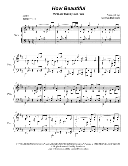 How Beautiful (for Piano Solo)