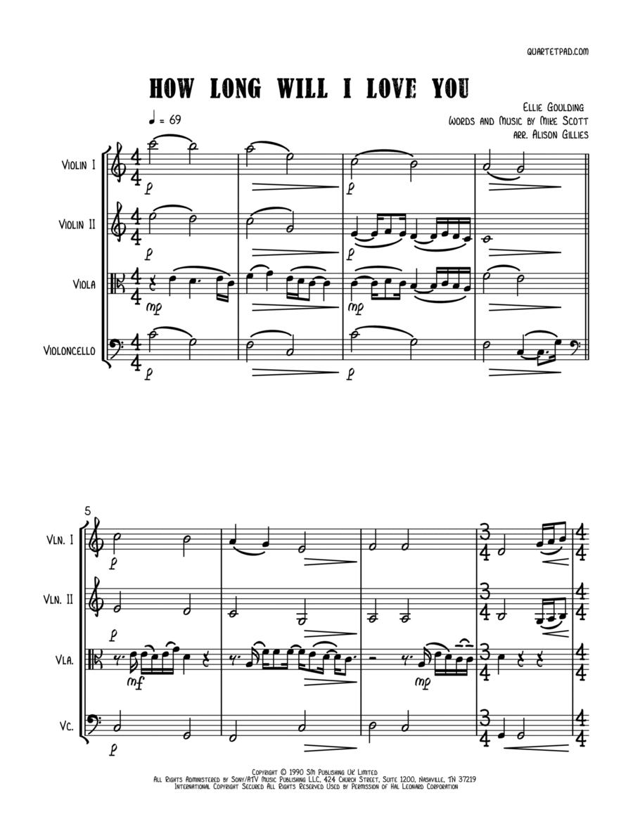 How Long Will I Love You - String Quartet