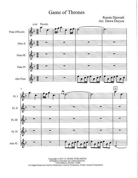 Game Of Thrones for Flute Quartet and Alto Flute