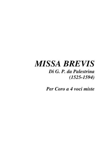 MISSA BREVIS - G. P. da Palestrina (1525-1594) - For SATB Choir