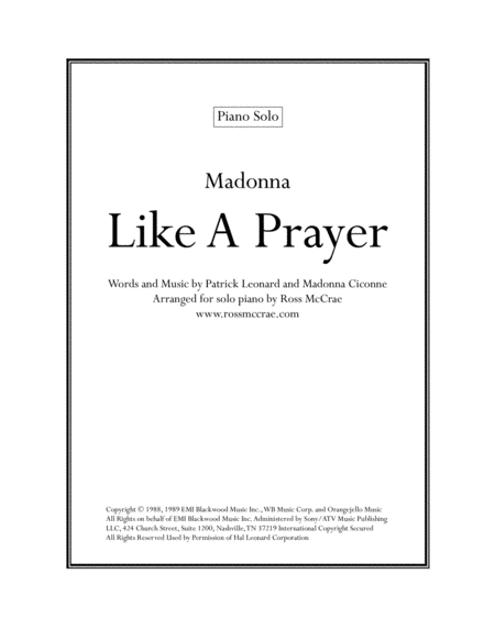 Like A Prayer (Piano Solo)