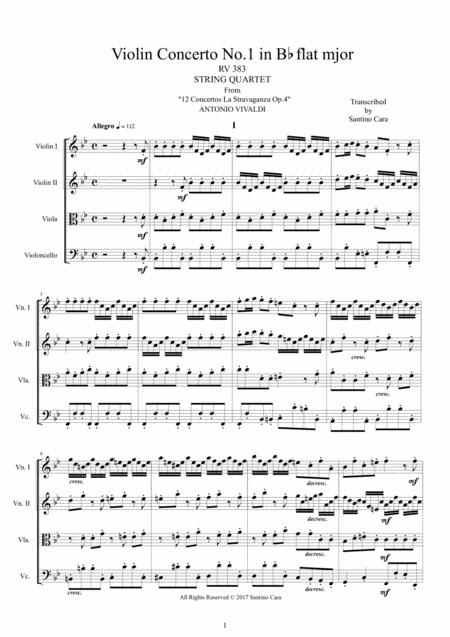 Vivaldi - Violin Concerto No.1 in B flat major Op.4 RV 383 for String Quartet