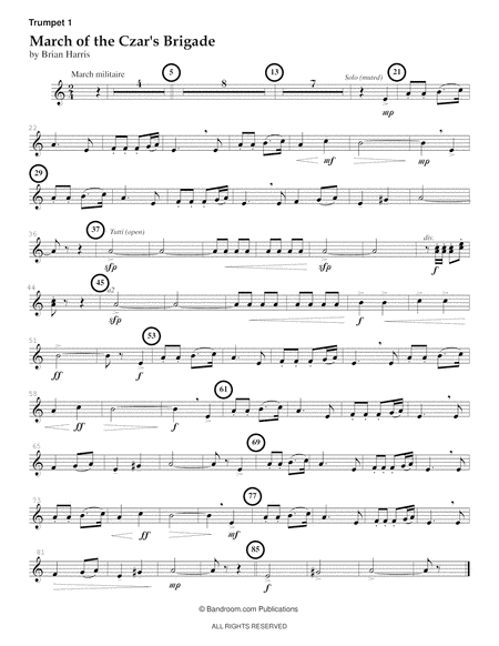 MARCH OF THE CZAR'S BRIGADE - concert band; score, parts, and license; difficulty: medium easy