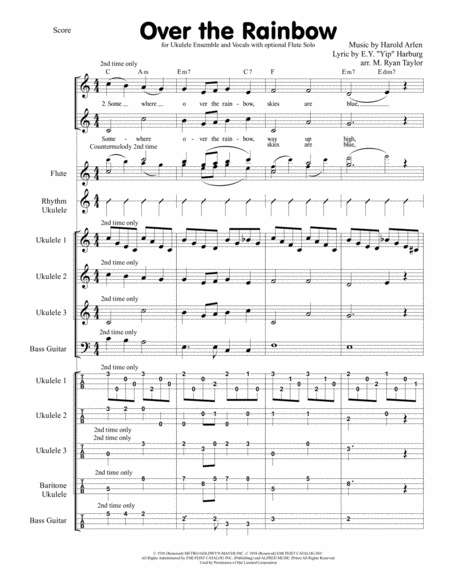 Over The Rainbow (from The Wizard Of Oz) for Ukulele Ensemble with Vocals and optional Flute solo
