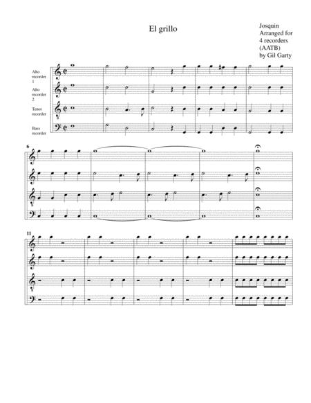 El Grillo (arrangement for 4 recorders)