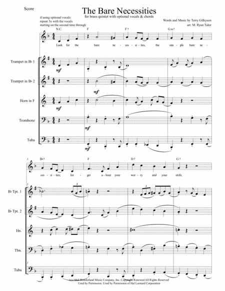 The Bare Necessities from THE JUNGLE BOOK for Brass Quintet with optional Vocals & Chords