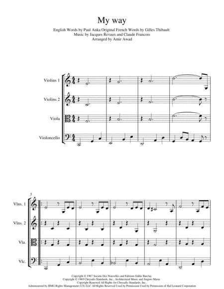 My Way (arranged for String Quartet/ Orchestra )