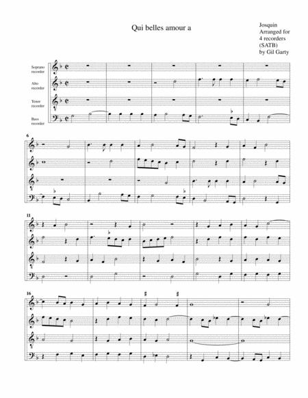 Qui belles amour a (arrangement for 4 recorders)