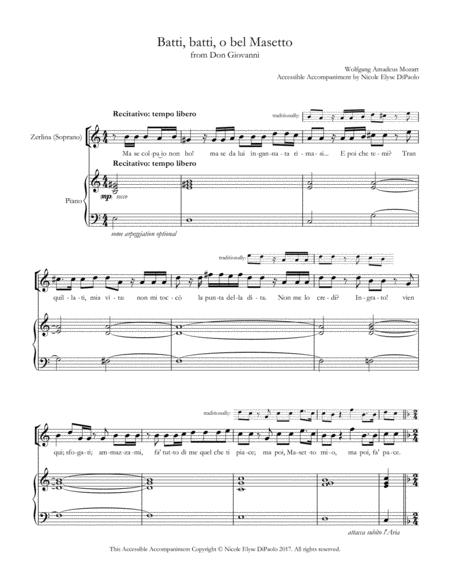 Batti, batti, o bel Masetto (Zerlina) from Don Giovanni - Accessible Accompaniments Edition