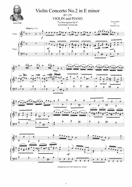 Vivaldi - Violin Concerto No.2 in E minor Op.4-RV 279  for Violin and Piano
