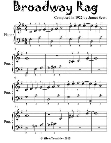Broadway Rag Easiest Piano Sheet Music for Beginner Pianists