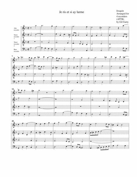 Je ris et si ay larme (arrangement for 4 recorders)